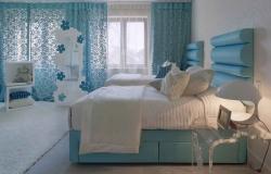 Голубой цвет в интерьере спальни – залог спокойного сна
