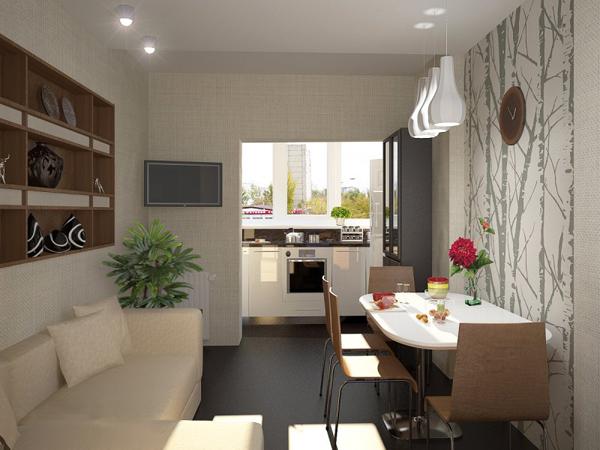 Интерьер кухни с балконом своими руками
