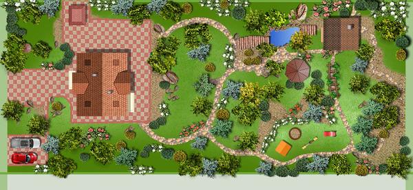 Ландшафтный дизайн прямоугольный участок